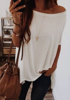White Oversized One-Shoulder T-Shirt – Lookbook Store