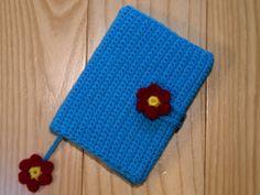 Crocheted book cover by Golden Heart Crafts. Crochet Book Cover, Crochet Books, Golden Heart, Heart Crafts, Pot Holders, Notebook, Handmade, Hand Made, Hot Pads