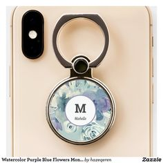 Watercolor Purple Blue Flowers Monogram Chic Girly Phone Ring Stand #phoneringholder #bluemonogram #floral #zazzle #afflink Ring Stand, Blue Flowers, Tech Accessories, Gifts For Mom, Hand Lettering, Monogram, Girly, Chic, Purple