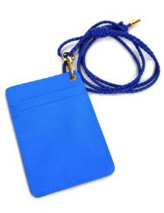 (OP275-BLUE) Unisex Faux Leather Card Holder Wallet Necklace