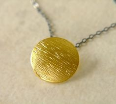 Oxidized Sterling Silver Necklace with Textured Matte by oflove, $32.00