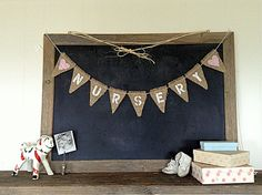 Nursery Baby Sign Burlap Mini Flag Pennant Banner Bunting Baby Shower Rustic Country Kid Babies Decor