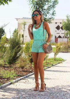 look do dia, ootd, outfit, verde menta, mint, tendências, primavera verão 2014, harmonia monocromática, shorts, calções, padrão étnico, top ...