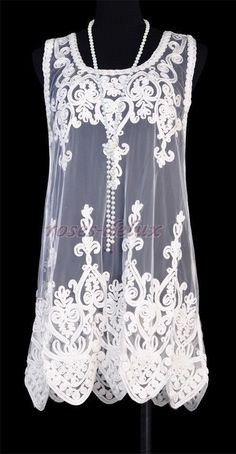 Vintage 1920's DRESS Art Nouveau Deco White Great Gatsby Sheer Party  RD 3246 #Other #Clubwear