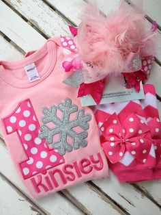WInter ONEderland first birthday outfit in hot pink and silver. Bodysuit, leg warmers, Over The Top bow by Darling Little Bow Shop