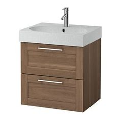"IKEA - GODMORGON / BRÅVIKEN, Sink cabinet with 2 drawers, white, 23 5/8x19 1/4x26 3/4 "", , 10-year Limited Warranty. Read about the terms in the Limited Warranty brochure.Smooth-running and soft-closing drawers with pull-out stop.You can easily customize the size of the drawer by moving the divider.You can easily see and reach your things because the drawers pull out fully.Drawers made of solid wood, with bottom in scratch-resistant melamine.The included water trap i..."