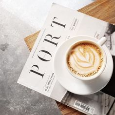 Cappuccino and Magazine But First Coffee, I Love Coffee, Coffee Break, My Coffee, Coffee Drinks, Morning Coffee, Coffee Shop, Coffee Cups, Coffee Lovers
