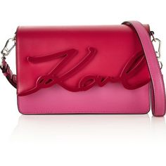 Karl Lagerfeld K/Signature Glaze Shoulder Bag (19,465 DOP) ❤ liked on Polyvore featuring bags, handbags, shoulder bags, pink, man leather shoulder bag, pink leather purse, leather man bags, leather handbags and leather hand bags
