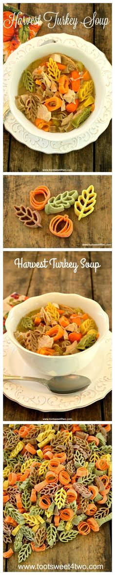 Harvest Turkey Soup - a delicious and satisfying soup. This would be such a fun thing to make for Thanksgiving dinner or a fall soup night! Seasonal pasta in pumpkin and leaf shapes and colors. Best fall/autumn soup recipes. Most Popular Thanksgiving meal pins.