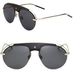 Dior Dio(r)evolution 58MM Pilot Sunglasses (1.835 BRL) ❤ liked on Polyvore featuring accessories, eyewear, sunglasses, christian dior, lens glasses, christian dior sunglasses, metal glasses and star eyewear