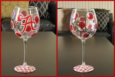 Painted wine glasses - love 'em...  Could do without the Bama theme, but you get the idea!