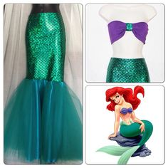 LITTLE MERMAID Full Mermaid Tail / Birthday by MTBGBOUTIQUE, @Angie Weaver, This is what I need to make for kenley