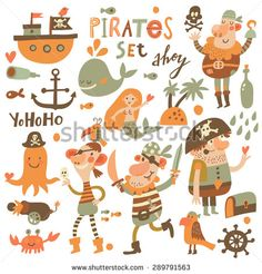 Lovely pirate set in cartoon style. Sweet card with pirates, ship, whale, Pirate Illustration, Watercolor Illustration, Pirate Party Tattoo, Homemade Pirate Costumes, Pirate Cartoon, Pirate Theme, Pirate Birthday, Pirate Treasure, Scrapbook Designs