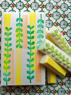 leafy green rubber stamps. hand carved rubber by talktothesun