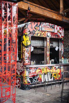 restaurant decor shed studio transforms abandoned train carriage into MEATliquor restaurant Spa Interior Design, Shed Interior, Interior Architecture, Resturant Interior, Restaurant Interior Design, Urban Graffiti, Street Art Graffiti, Shed Design, Cafe Design