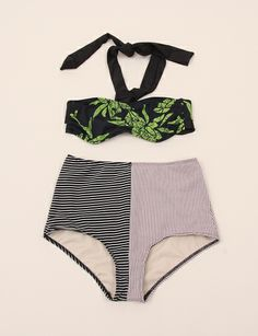 Giejo Mixed High Waist Bottoms - Black Stripe