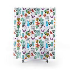 Tropical Drinks and Flip Flops Shower Curtain, Beach Home Decor, Shower Curtain for Beach House, Tropical Home Decor