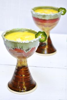 2 wheel thrown Margarita Glasses from Lee Wolfe Pottery