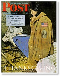 norman rockwell saturday evening post, 1942 Thanksgiving. A G.I.s jacket is used to warm a European girl whom war has left destitute.