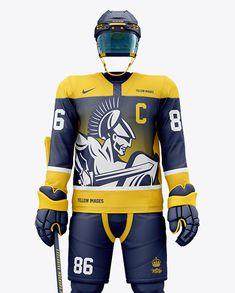 Men's Full Ice Hockey Kit with Visor mockup (Front View) Close-Up Hockey Shin Guards, Netball Dresses, Basketball Kit, Goalkeeper Kits, Ice Hockey Jersey, Over The Calf Socks, Protective Gloves, Nhl Jerseys, Male Man