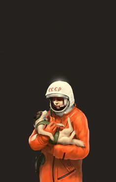 Soviet poster of Russia's first man in space, Cosmonaut Yuri Gagarin, holding Laika, the first dog in space.