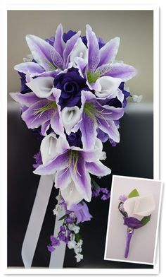 2pc wedding flowers:Cascade Bridal bouquet&Boutonniere:Lavdender,Purple,White #Angelisabella