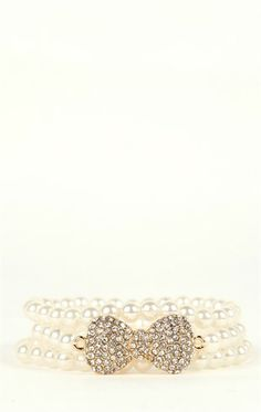 Deb Shops Stretch #Pearl #Bracelet with Stone Bow $7.35