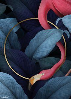 premium illustration of Tropical flamingo on a round golden frame Tropical flamingo on a round golden frame