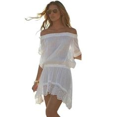 Off Shoulder Chiffon Beach Dress