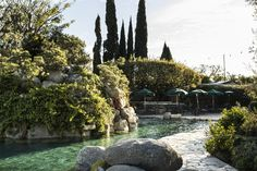 The pool and grotto at the Playboy Mansion in Los Angeles -m