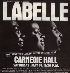 Vintage concert poster for LaBelle--a history that didn't include me getting to see them live.