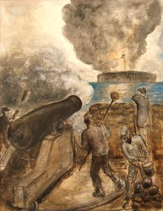 John Steuart Curry - The Attack on Ft. Sumter, SC (painted in Watercolor Military Salute, Military Art, American Civil War, American History, John Steuart Curry, Journey To The Past, Fort Sumter, Civil War Art, Social Realism