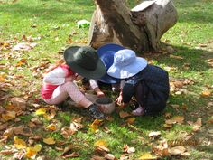 Kindergarten students playing in the leaves at Orana Steiner School in Canberra, Australia