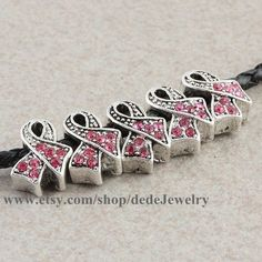 10pcs Charm Antique Silver with Pink Crystal Rhinestone Ribbon Breast Cancer Awareness Big Hole Beads Fit European Bracelet on Etsy, $3.29