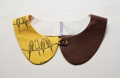 peterpan collar birds Mustard and Brown LAST by qtpiworkshop
