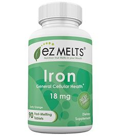EZ Melts Iron Tablets, 18 mg, Orange, 90 Count >>> Find out more about the great product at the image link.