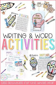 Writing and word work activities and lessons for teachers that a variety of writing topics to keep your students engaged and building writing skills! Great for word work, morning work, the writing center, and whole group writing lessons. #kidwriting #teachingwriting #writersworkshop #writingcenter #firstgrade #wordwork