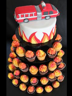 Fire Engine Cake (with a Flame Cupcake Tower) | Shared by LION