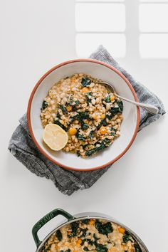 Hearty Kale, Navy Bean, & Farro Soup w/ Lemon & Black Pepper by Faring Well