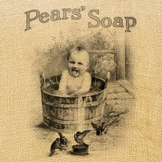 Items similar to Pears Soap vintage baby bathroom wash beauty advertising ads graphic art transfer gift tag label napkins burlap pillow Sheet on Etsy Vintage Cards, Vintage Images, Vintage Posters, Vintage Stuff, Vintage Advertisements, Advertising Ads, Soap Advertisement, Retro Ads, Decoupage Printables