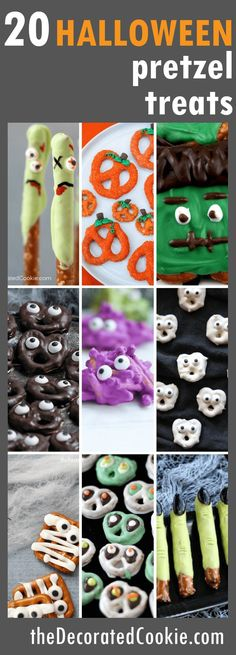20 Halloween pretzel treats roundup - The Decorated Cookie halloween dessert Halloween Pretzels, Halloween Sweets, Halloween Baking, Halloween Goodies, Halloween Food For Party, Easy Halloween, Spooky Halloween, Halloween Crafts, Vintage Halloween