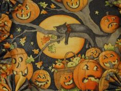 Halloween Black and Orange Black Cat and Pumpkins <3