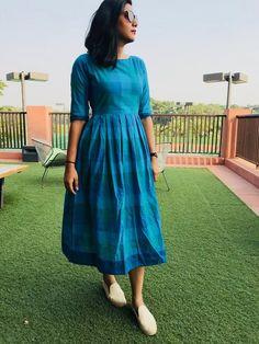 Blue Gingham Dress Source by sonalpin dress Kalamkari Dresses, Ikkat Dresses, Frock Fashion, Fashion Dresses, Casual Frocks, Simple Frocks, Gingham Dress, Blue Gingham, Long Dress Design