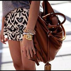 Tribal shorts, arm party & slouchy bag