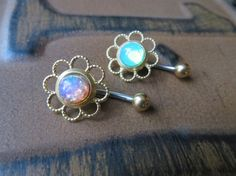 Pink Fire Opal Flower Daisy Belly Button Ring by Azeetadesigns