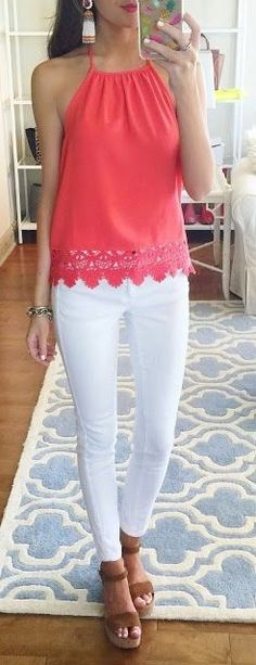 #spring #summer #outfitideas | Lace Trim Halter Top + White Pants | Southern Curls & Pearls