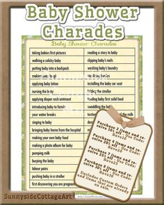 baby shower charades game printable baby by sunnysidecottageart