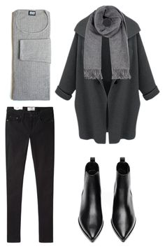 Black and grey (dress pants and button up) with a plain black belt
