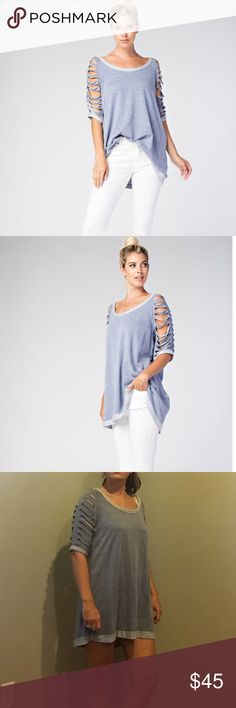 "Made in the USA Gray Raglan Sleeve Top Oversized Gray Top. Made In The USA. Soft  material. Small has a 20"" bust and 30"" in length. Medium has a 20.5"" bust and 31"" length. Large has a 22"" bust and 32"" in length. Can wear as a mini dress or leggings or tucked in your jeans. Boutique Tops Sweatshirts & Hoodies"