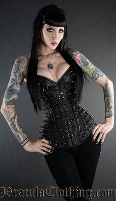 Leather Ultimate Spike Clasp Corset